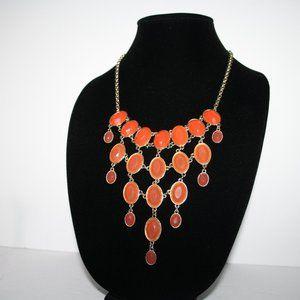 Vintagejelyfish Jewelry - Beautiful gold and orange bib style necklace